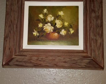 oil painting, vintage, vintage oil painting, floral painting, framed painting,