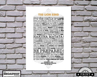 The Lion King - Broadway Collection - DIGITAL FILES ONLY - Quotes - Lyrics - Typography Print - Custom Print
