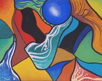 """Untitled Colorful Abstract Wall Art  14"""" x 11"""" Acrylic on Stretched Canvas"""