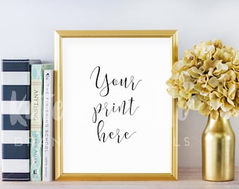 Gold Frame Mockup / Empty Frame Mockup / Gold Mockup with Books Flowers / Empty Gold Frame Mockup / Gold Mockup Photo