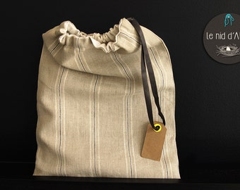 Link slide washed linen bag