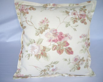 Vintage floral cushion cover, in Laura Ashley fabric, soft rose and ivory colours.