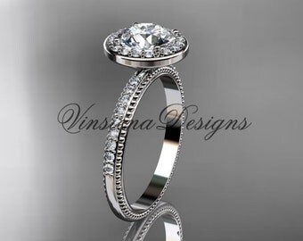 Platinum vine engagement ring VD10077