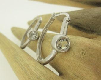 Natural White Topaz Gemstone and Sterling Silver Hoop Earrings