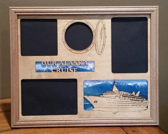 11x14 Alaska Cruise Vacation Laser Engraved Picture Frame with 4 Photo Holes Collage Cruise Ship
