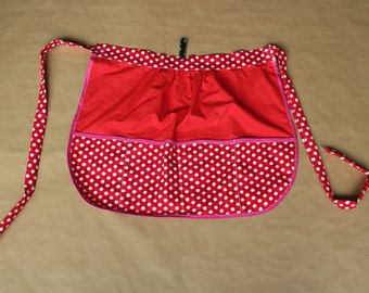 Red half apron with polka dots, red apron with white dots