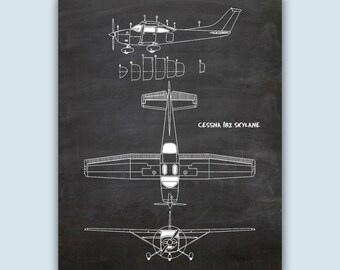 Aviation Wall Art, Airplane Decor, Pilot Gift, Airplane Art, Airplane Poster, Chalkboard Print, Aviation Gifts, Cessna 182 Skylane