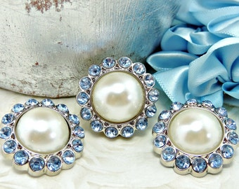 IVORY Pearl Rhinestone Acrylic Buttons W/ Light Blue Surrounding Rhinestones Garment Dress Coat Buttons Brooch Bouquet 26mm 3185 08 11R