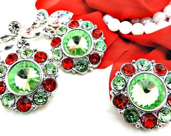 Wholesale Christmas Rhinestone Buttons Red And Light Green Plastic Acrylic Rhinestone Buttons Garment Coat Buttons 2997 25mm 34 3 34R