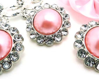 PRETTY Pink Pearl Rhinestone Acrylic Buttons W/ Clear Surrounding Rhinestones Brooch Button Bouquet Coat Sewing Button 26mm 3185 99P 2R