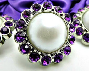 WHITE Pearl Rhinestone Acrylic Buttons W/ Amethyst Purple Surrounding Rhinestones Bridal Button Brooch Bouquet Coat Buttons 26mm 3185 09P 5R