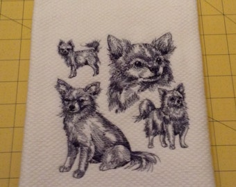 Long Hair Chihuahua Collage Sketch Embroidered Kitchen Hand Towel, Williams Sonoma All Purpose, 100% cotton & XL, Made in Turkey