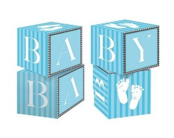 Blue baby blocks centerpiece