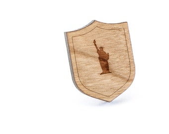 Statue Of Liberty Lapel Pin, Wooden Pin, Wooden Lapel, Gift For Him or Her, Wedding Gifts, Groomsman Gifts, and Personalized