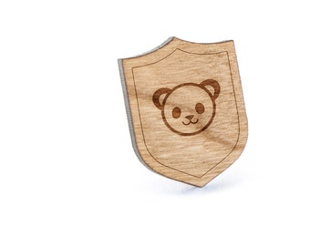 Panda Face Lapel Pin, Wooden Pin, Wooden Lapel, Gift For Him or Her, Wedding Gifts, Groomsman Gifts, and Personalized