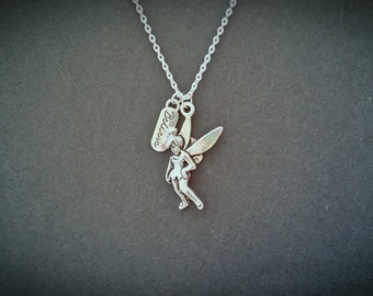 "Peter Pan And Tinkerbell/Tinker bell Inspired ""Believe"" Pendant Necklace. 24"" Silver Plated"