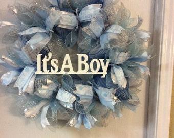 It's A Boy Baby Shower Wreath-Baby Shower Wreath