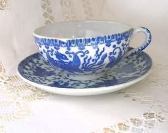 Translucent Porcelain Tea Cup and Saucer, Blue and White, Phoenix Bird Pattern, Made in Japan, Vintage Collectible, Flying Turkey Pattern