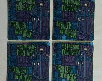 4 Piece Set of Doctor Who/Tardis Fabric Coasters