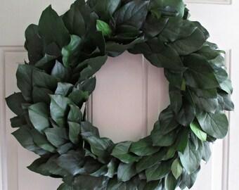 "Preserved lemon leaf wreath, green salal, 20"" wreath"