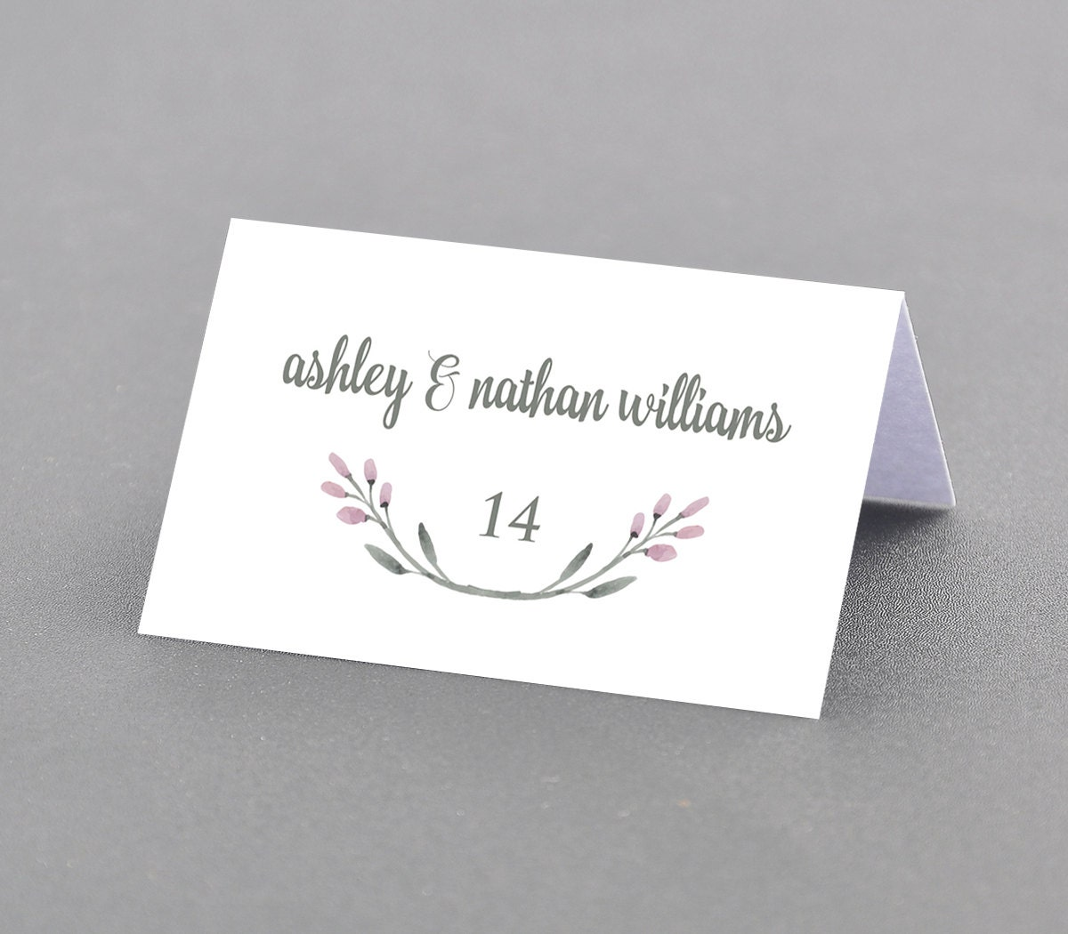 Printable Place Card Template, Watercolor Floral Wreath Seating ...