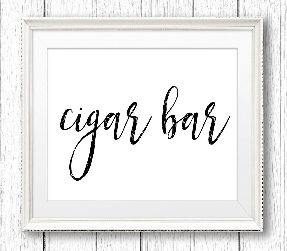Cigar Bar Sign Printable Wedding DIY Rustic Instant Download File PDF Template Digital SW18