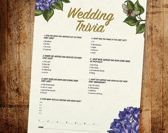 Personalized Bride & Groom Trivia Printable Floral Game