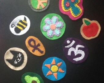 sew on patches, felt patches, hand stitched patches, custom patches