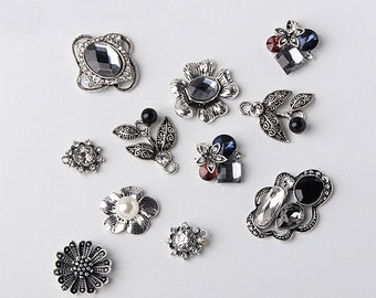 5 pcs Pearl Rhinestone Metal Embellishment, Pearl Craft Buttons,Wedding Invitation,Hair Beads,Flower Center Beads,Jewelry Findings(1-213)