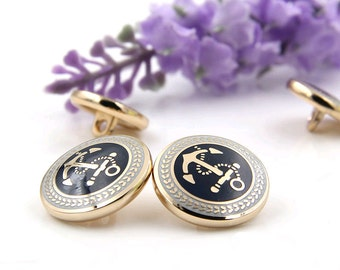 3 pieces 15-20mm metal Buttons , Anchors patternn buttons, Round buttons, Shirt Buttons, Fashion Buttons, Buttons for child (205-57)