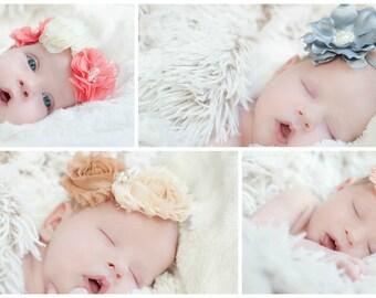 FOUR Baby Girl Headband Set, Shabby Chic Headbands, Baby Headband Set , Newborn Headband, Gift Set, Baby Shower Gift, Baby Headbands