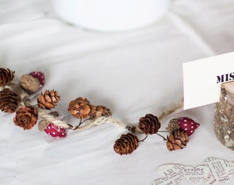 Woodland Rustic Wedding Table Garland - Acorns Pinecones Twine - Autumn Forest Natural