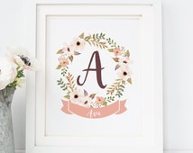 Custom Nursery Monogram Print, Baby Girl Nursery, Personalized Baby Name Sign, Nursery Printable, Baby Girl Gift, New Baby Gift, Baby Shower