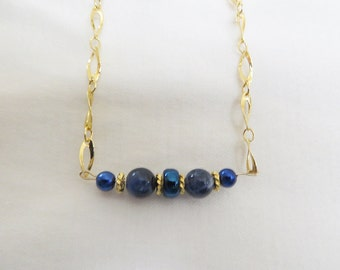 GP Chain with Sodalite Gemstone Bracelet, GB-86.  Necklace and Earrings also available.