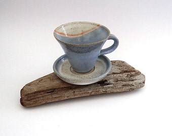 Ceramic cup and saucer in subtle shades of blue and cream - handmade pottery