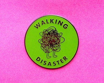Walking Disaster Glow-In-The-Dark Hard Enamel Pin Black Nickel Green Hot Mess Funny Goofy Pun Cartoon Lapel Pin Flair