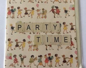 "Handmade birthday card- Party Time- 6x6"""