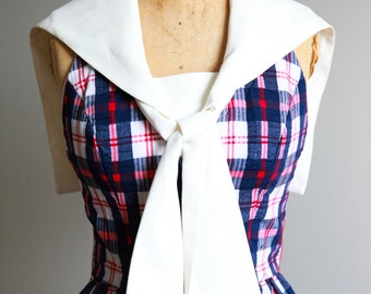 1960s Plaid Sailor Style Maxi Dress