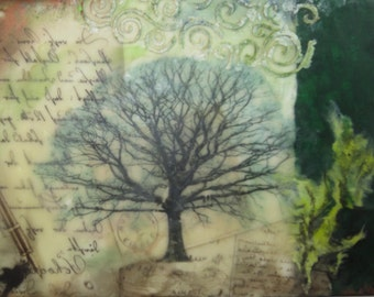 Tree painting ~ Encaustic, mixed media art