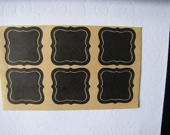 12 labels adhesive black kraft liserai kraft natural - 5.4 cm