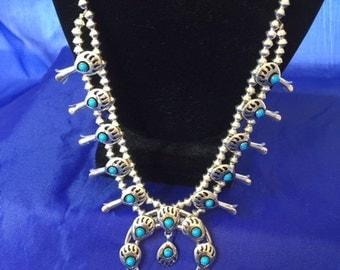 Native American 24 inch Squash blossom Necklace