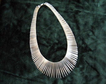 1970s Nickel Silver Bib Statement  Necklace