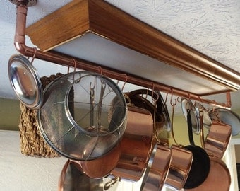 Copper , Brass , Nickel, or Stainless Steel  Pot Rack - hanging or wall mounted   Priced in copper.  Request a price for other metals