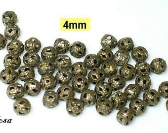 50 beads bronze filigree 4mm (K106. 4)