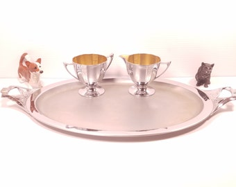 Vintage Royal Rochester Serving Platter With Sugar and Cream Pitcher Set, Coffee Service Set, Quality Serving Tray, Retro Diningware
