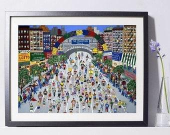 New York Art - NYC Marathon Art - Runner Art - Home Decor - New York Gift - NYC Art Print - Pat Singer's New York