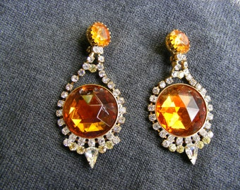 Lovely earrings theatre/orange rhinestones/opera/cabaret
