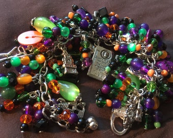 Halloween Day of the Dead Goblins Cha Cha Bracelet Silver and Beads