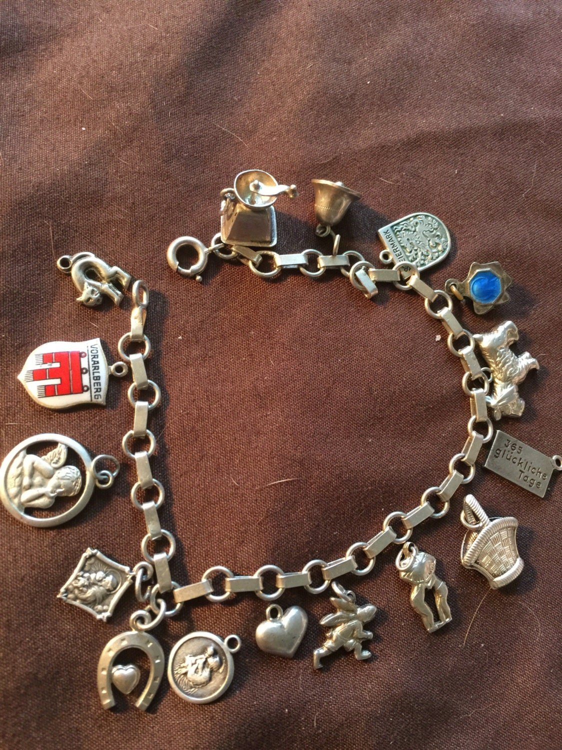 german vintage silver 800 835 charm bracelet with 16 charms