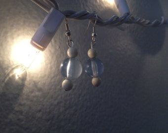 Blue and White Dangle Earrings